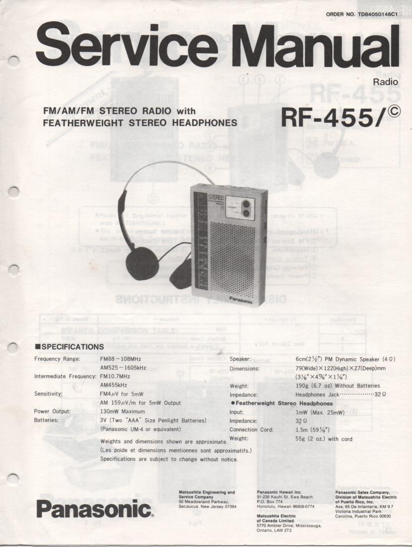RF-455 AM FM Radio Service Manual