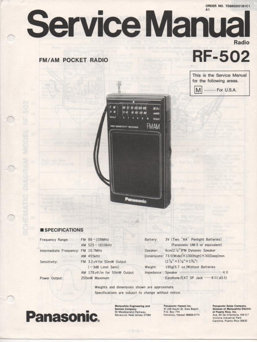 RF-502 AM FM Radio Service Manual