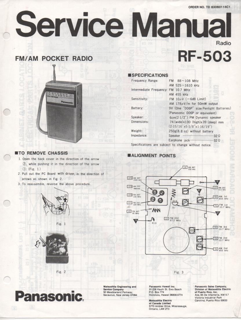 RF-503 AM FM Radio Service Manual