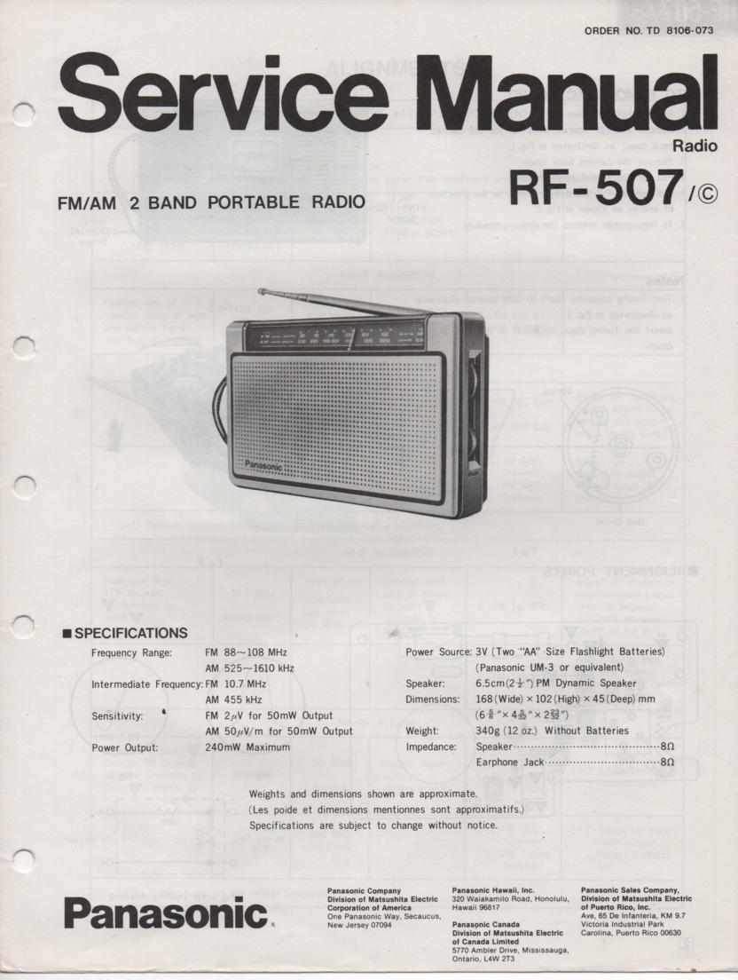 RF-507 AM FM Radio Service Manual