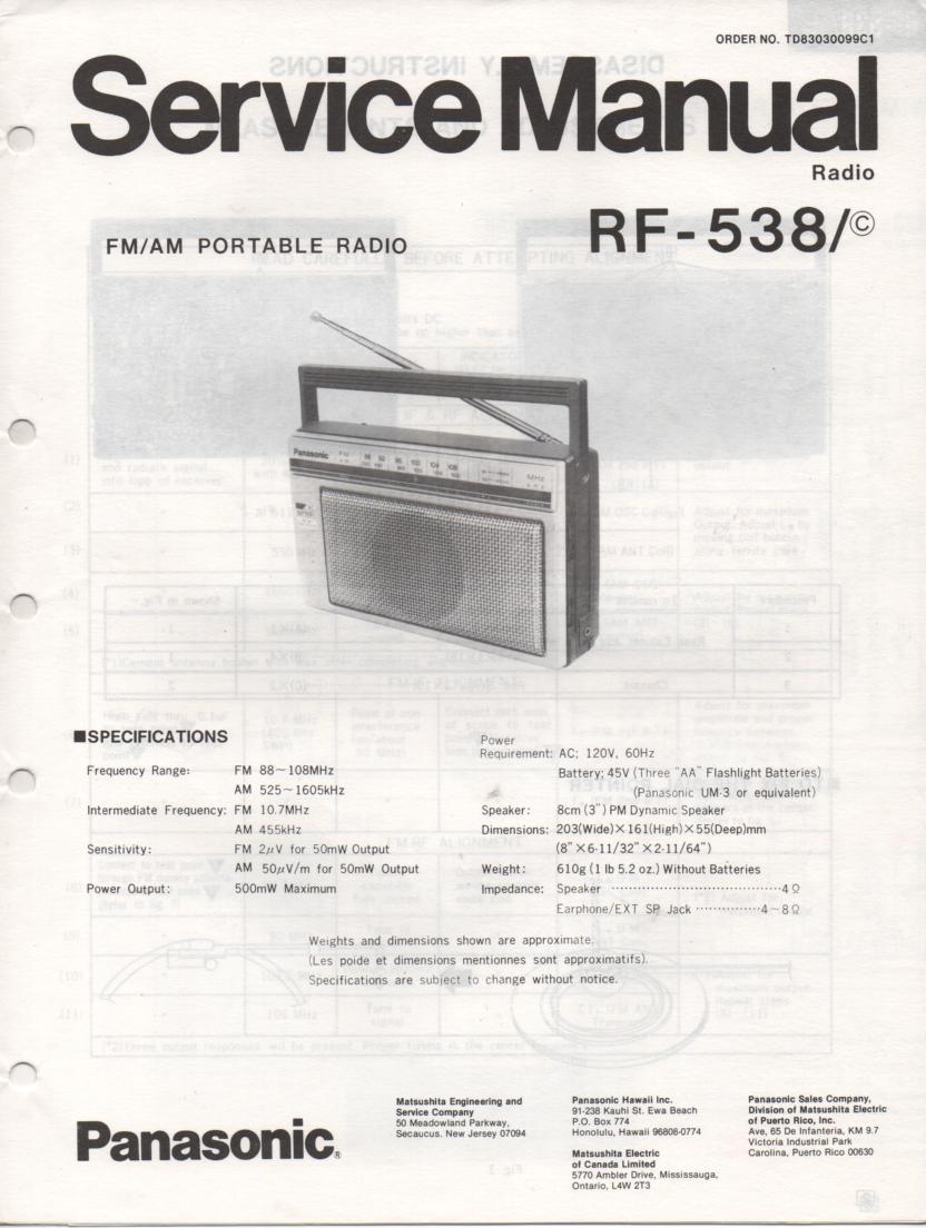 RF-538 AM FM Radio Service Manual