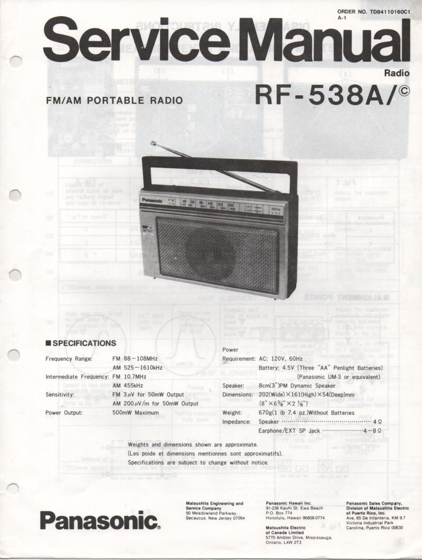 RF-538A AM FM Radio Service Manual