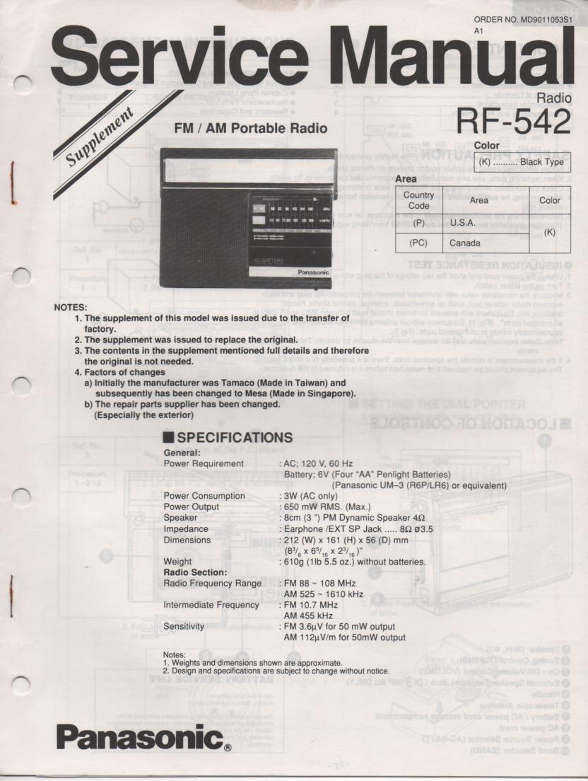 RF-524 AM FM Radio Service Manual