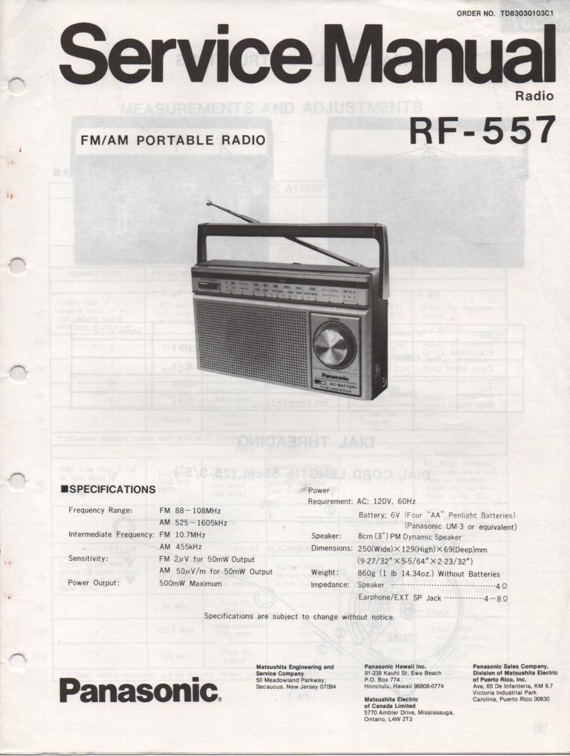 RF-557 AM FM Radio Service Manual