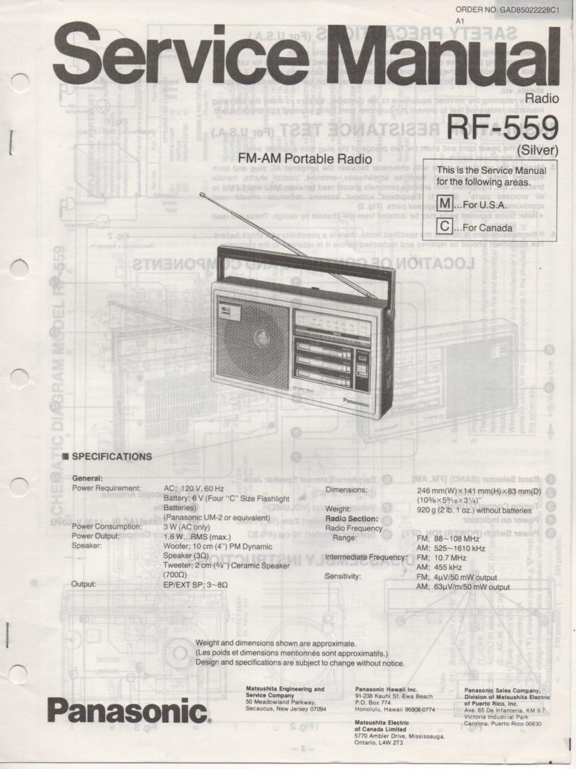 RF-559 AM FM Radio Service Manual