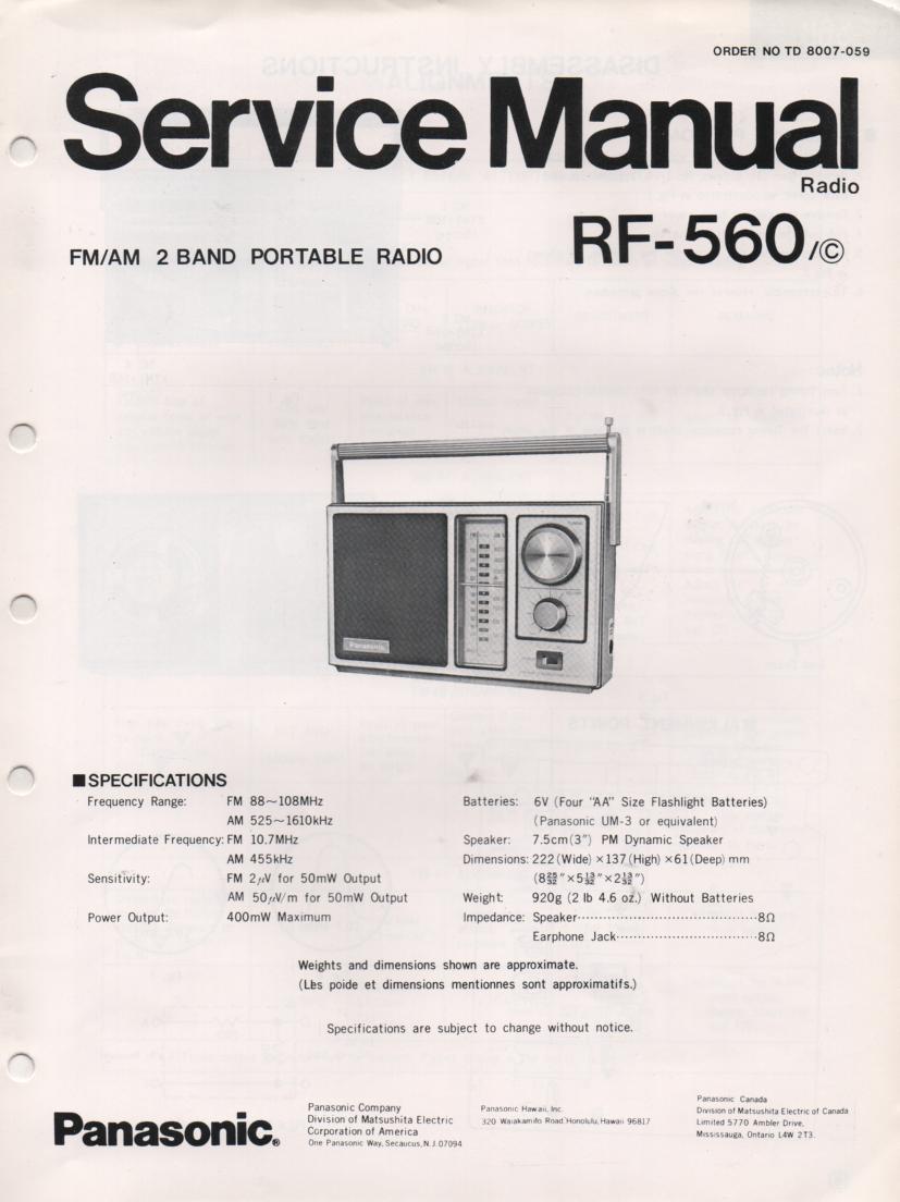 RF-560 AM FM Radio Service Manual