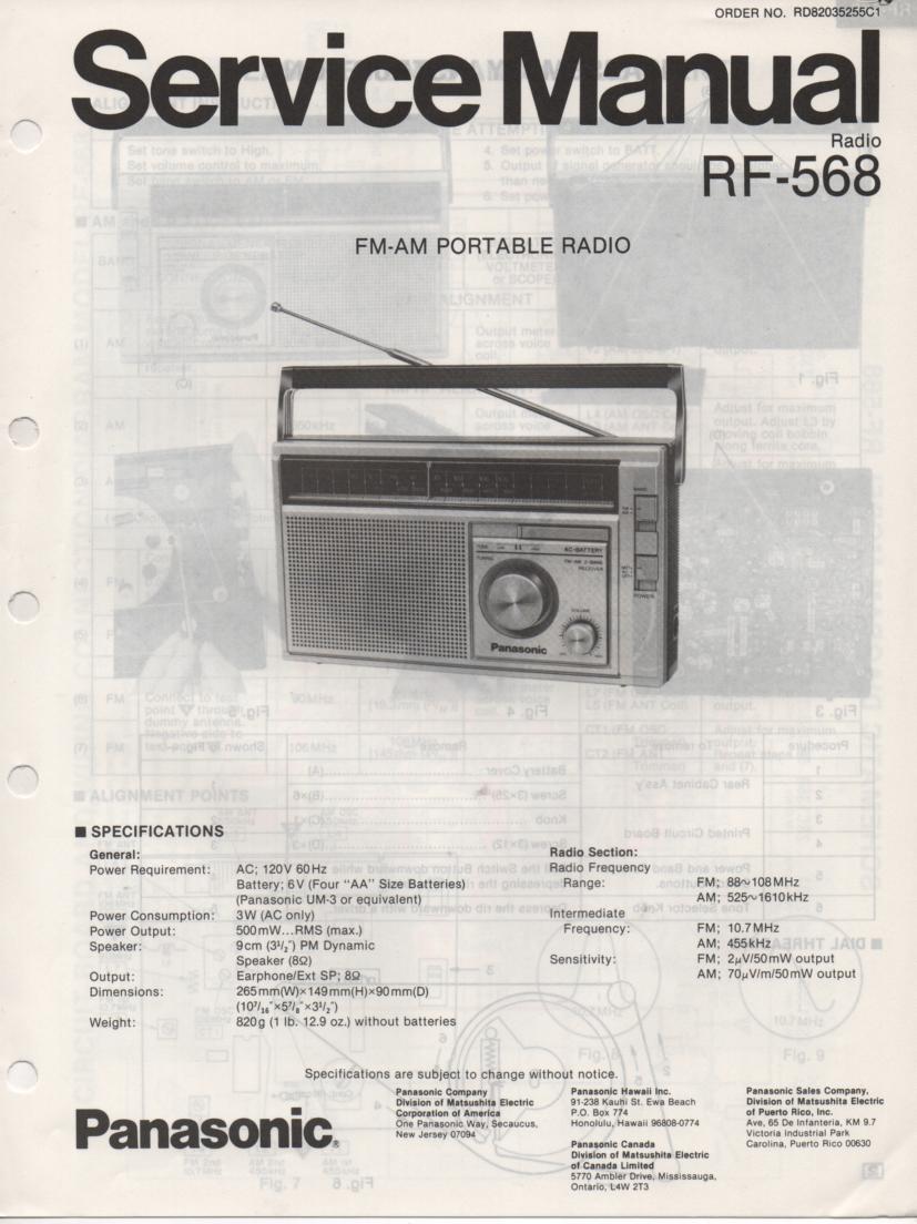 RF-568 AM FM Radio Service Manual