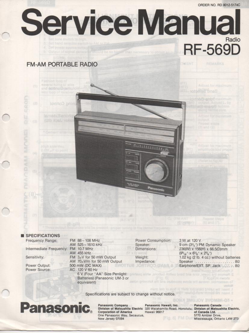RF-569D AM FM Radio Service Manual