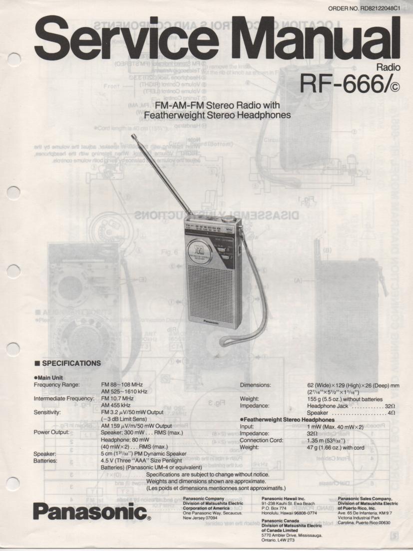 RF-666 AM FM Radio Service Manual
