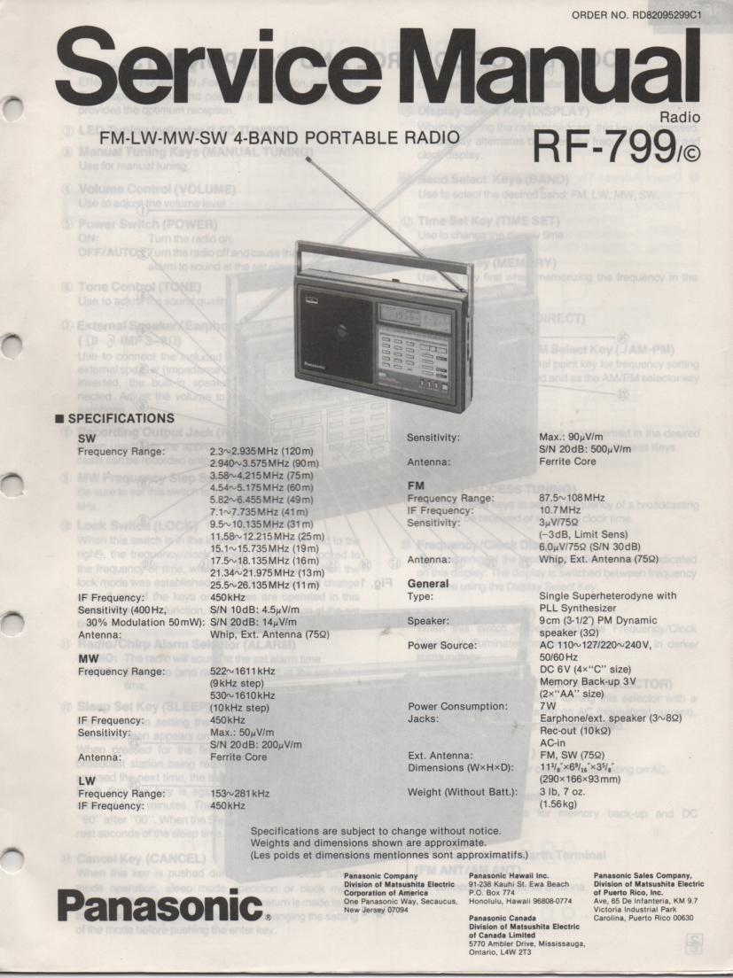 RF-799 Multi Band Radio Service Manual
