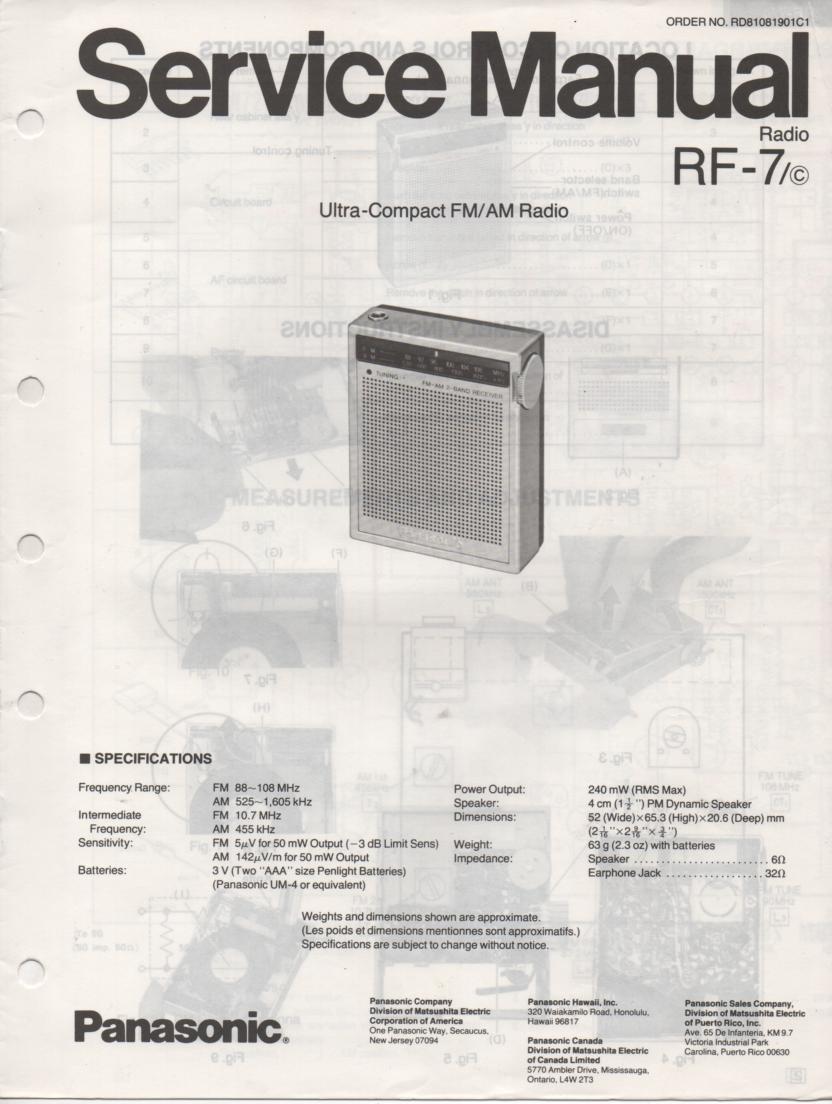 RF-7 AM FM Radio Service Manual