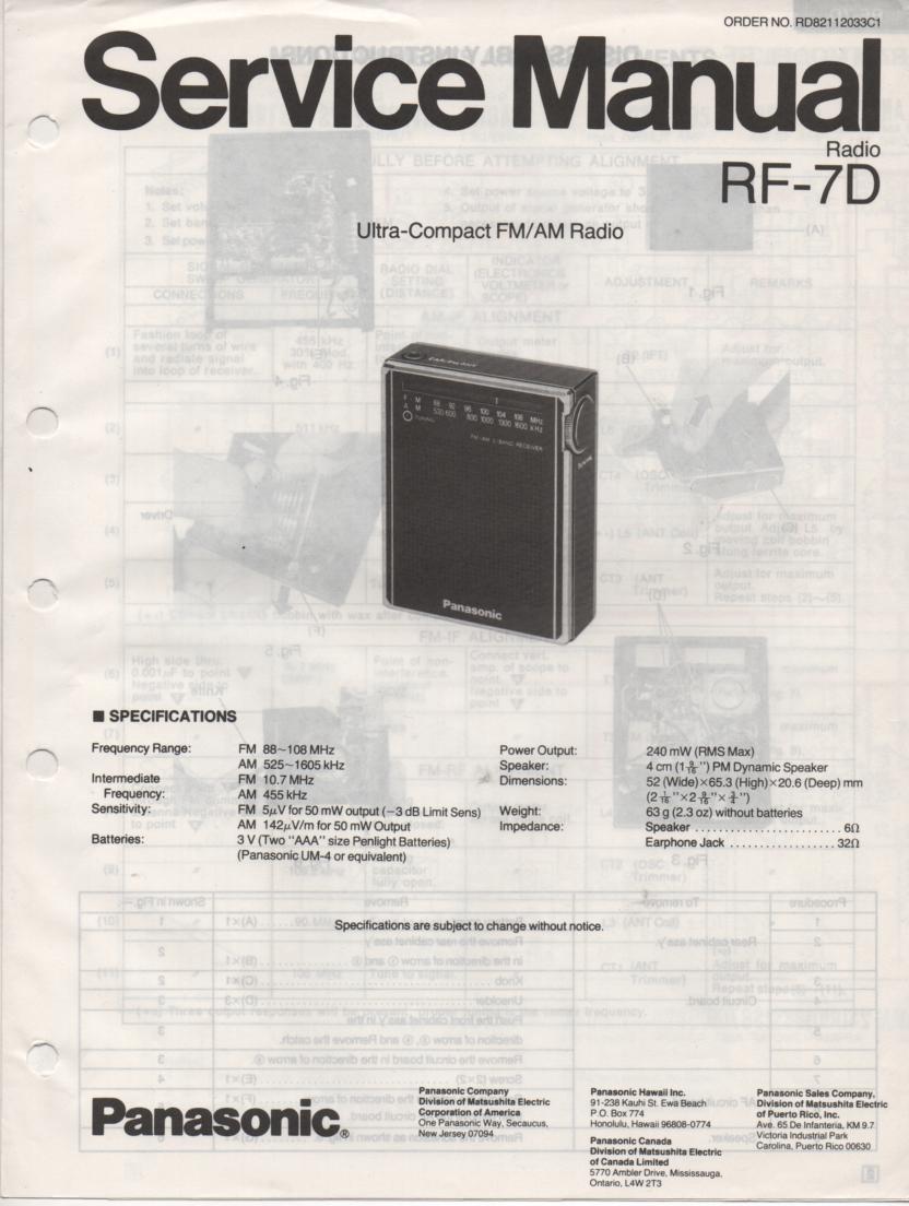 RF-7D AM FM Radio Service Manual