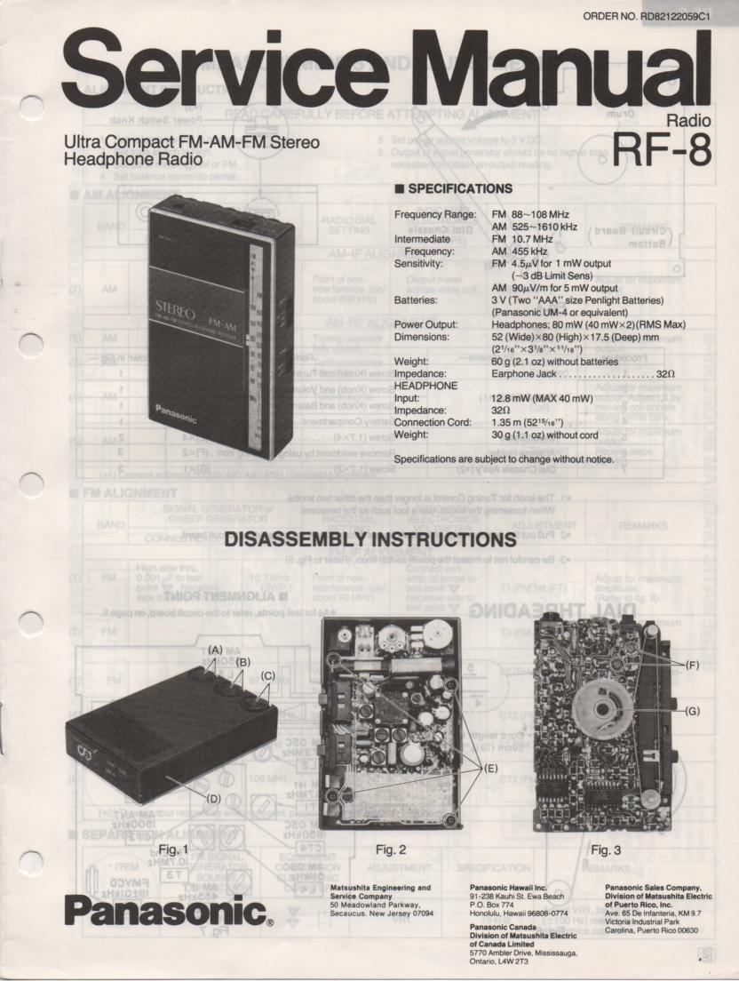 RF-8 AM FM Radio Service Manual