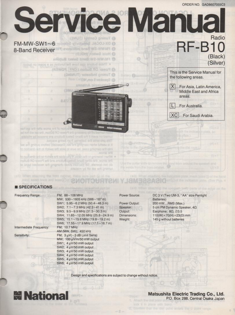 RF-B10 Multi Band Radio Service Manual
