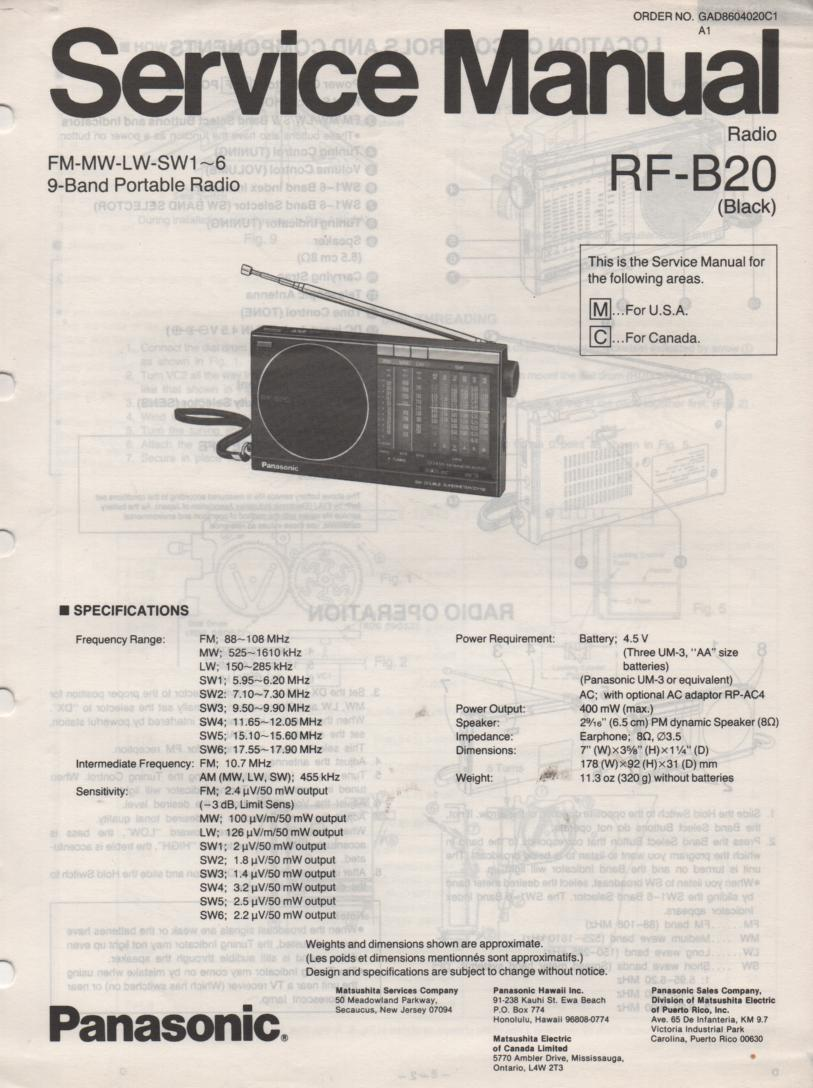 RF-B20 9 Radio Service Manual
