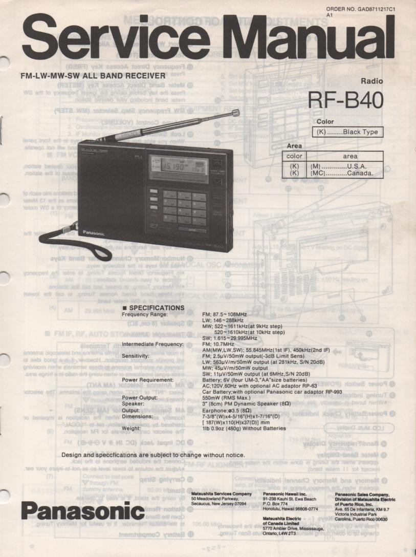 RF-B40 Multi Band Radio Service Manual
