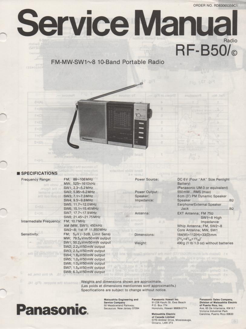 RF-B50 Multi Band Radio Service Manual