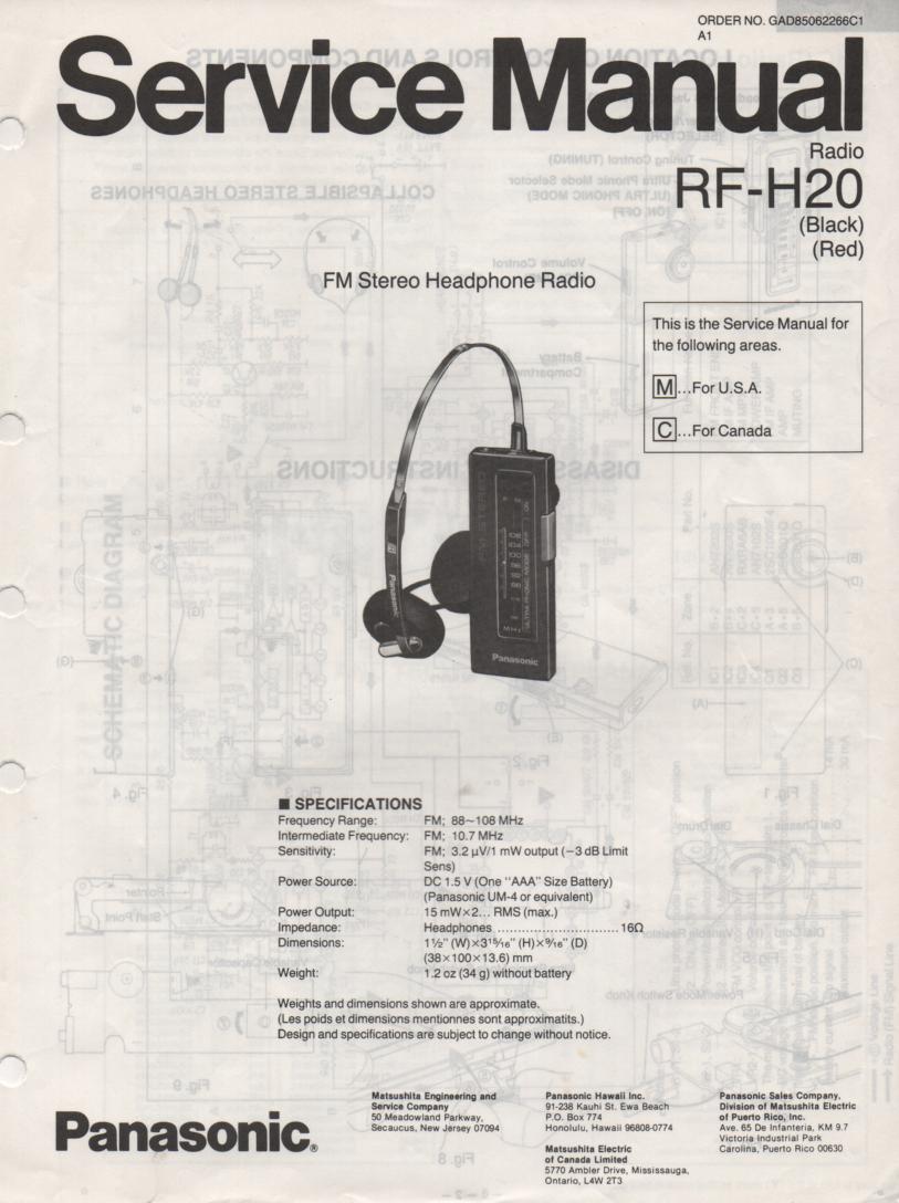 RF-H20 Headphone Radio Service Manual