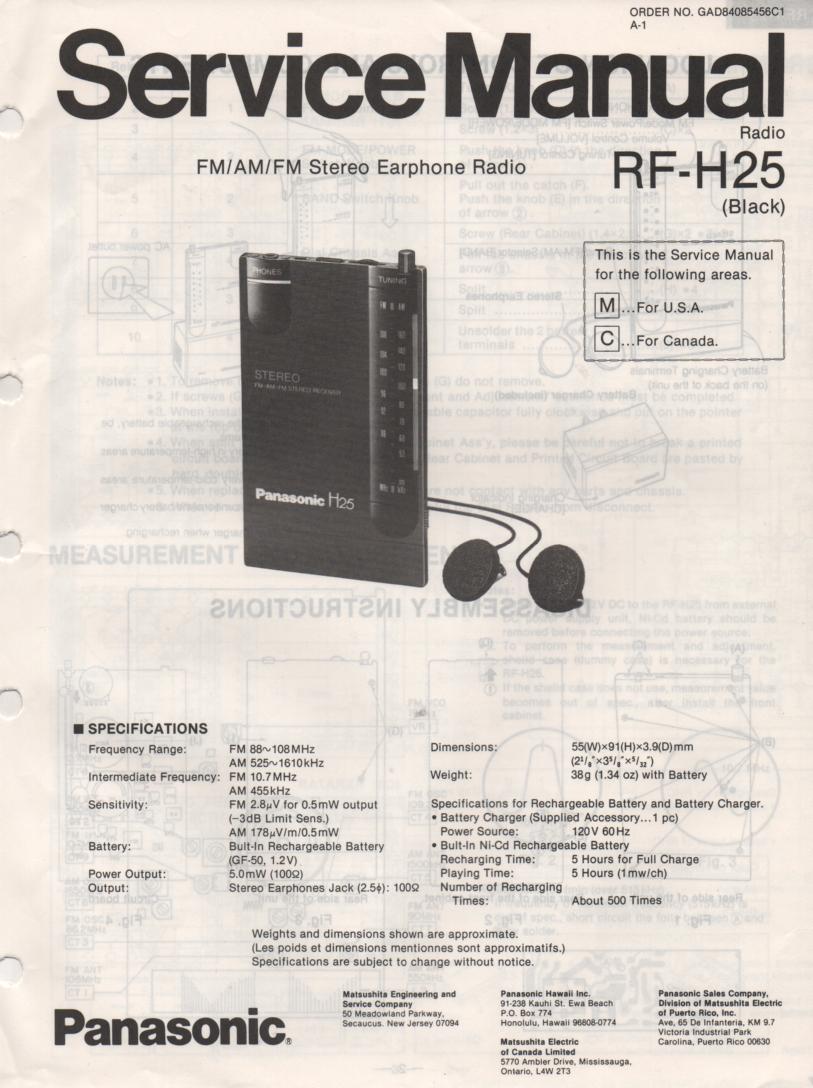 RF-H25 Headphone Radio Service Manual