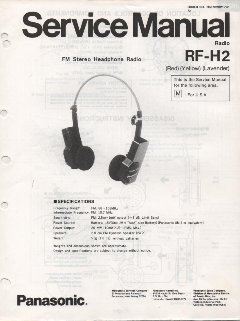 RF-H2 Headphone Radio Service Manual