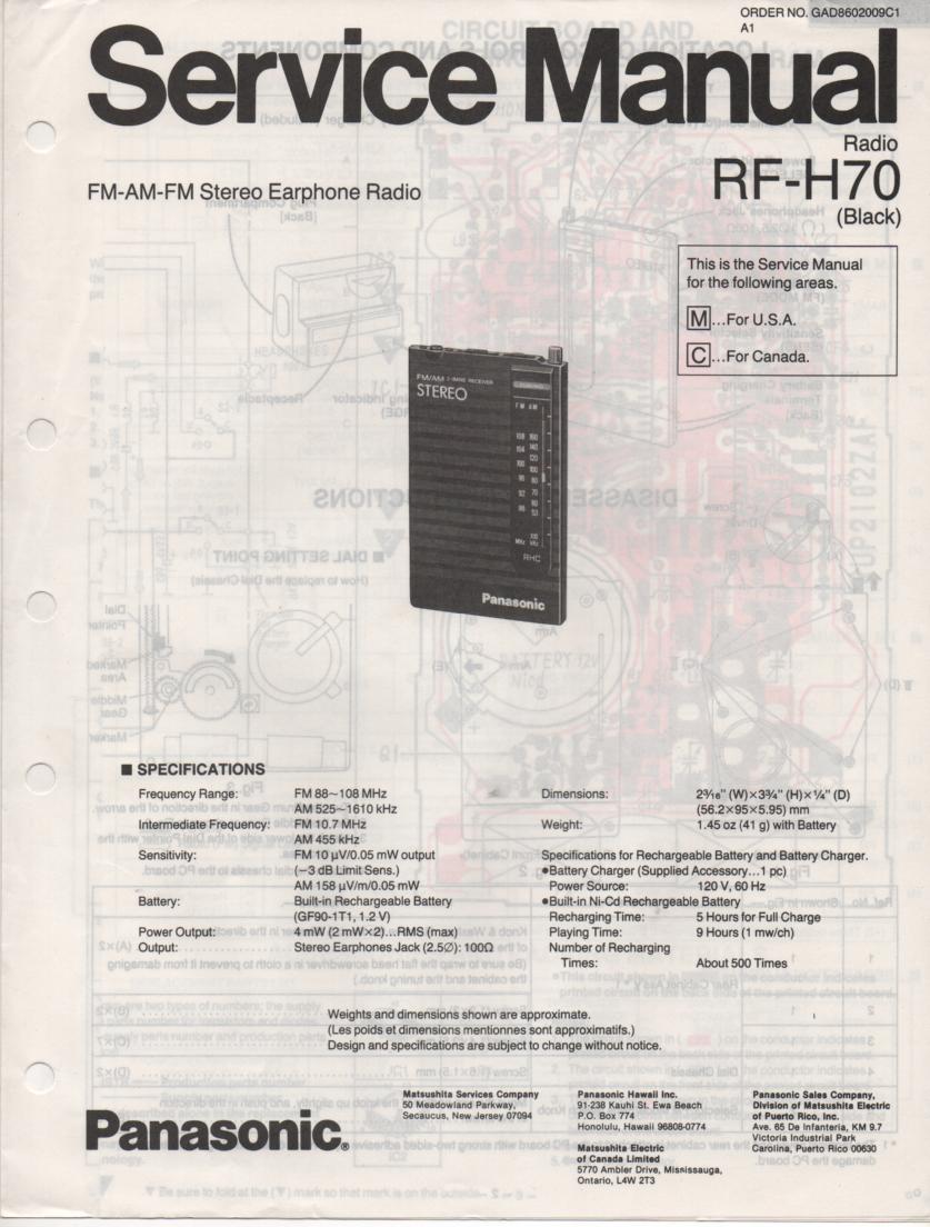 RF-H70 Earphone Radio Service Manual