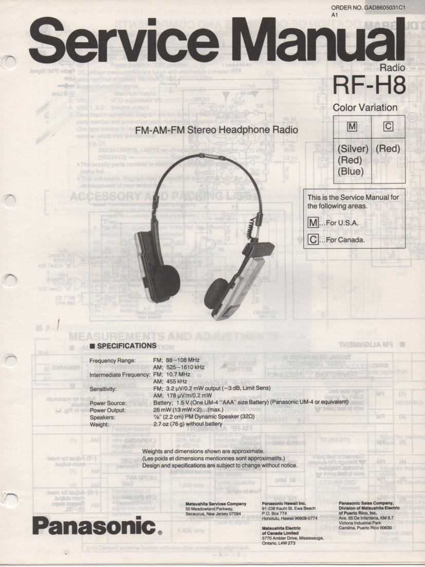 RF-H8 Headphone Radio Service Manual
