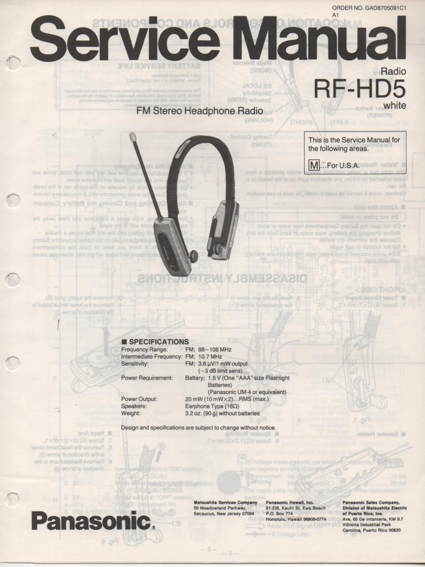RF-HD5 Headphone Radio Service Manual