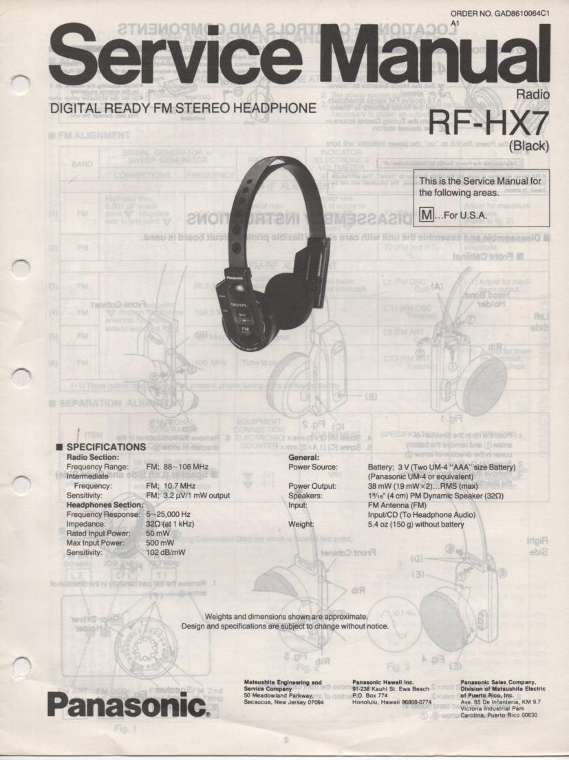 RF-HX7 Headphone Radio Service Manual