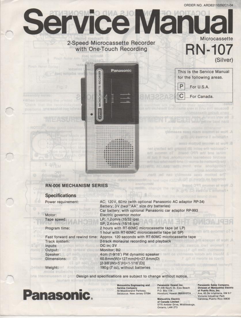 RN-107 Microcassette Deck Service Manual