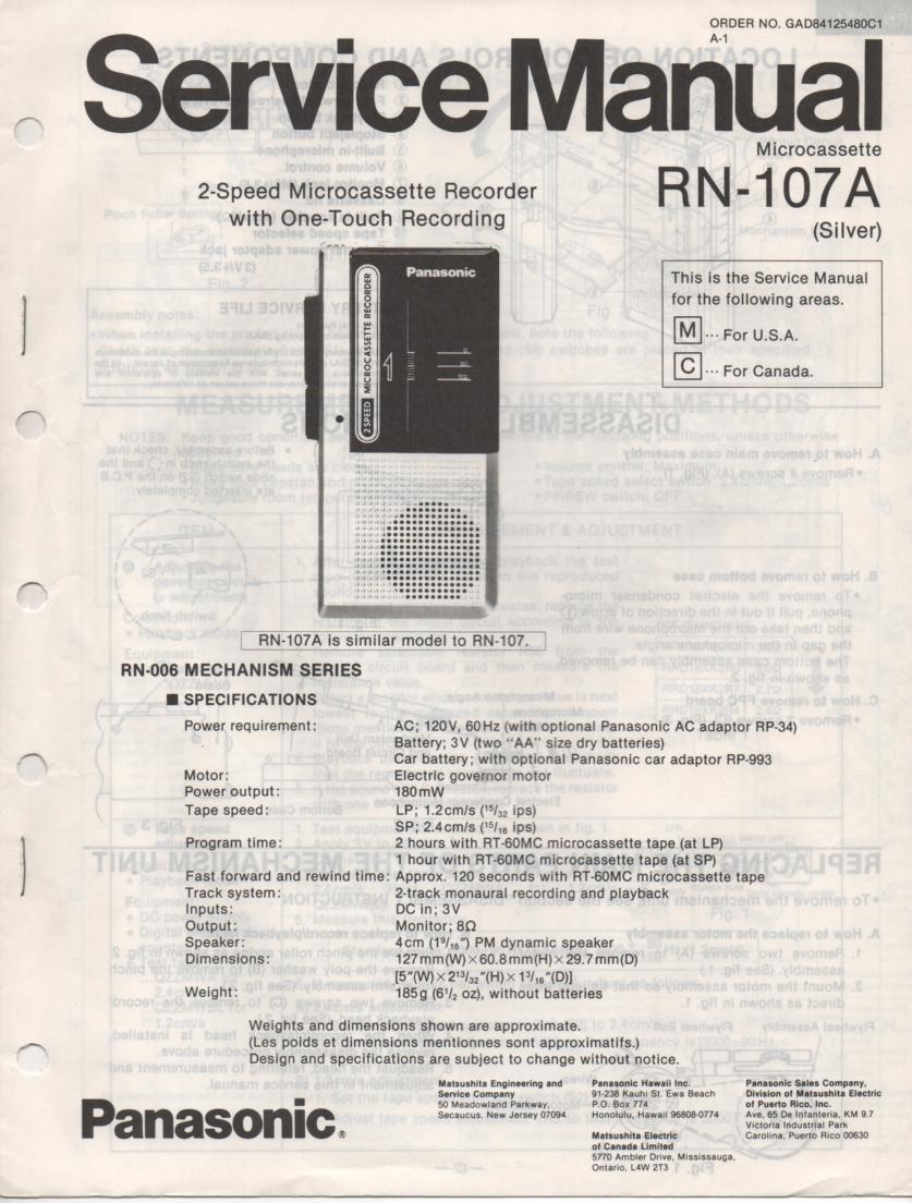 RN-107A Microcassette Deck Service Manual