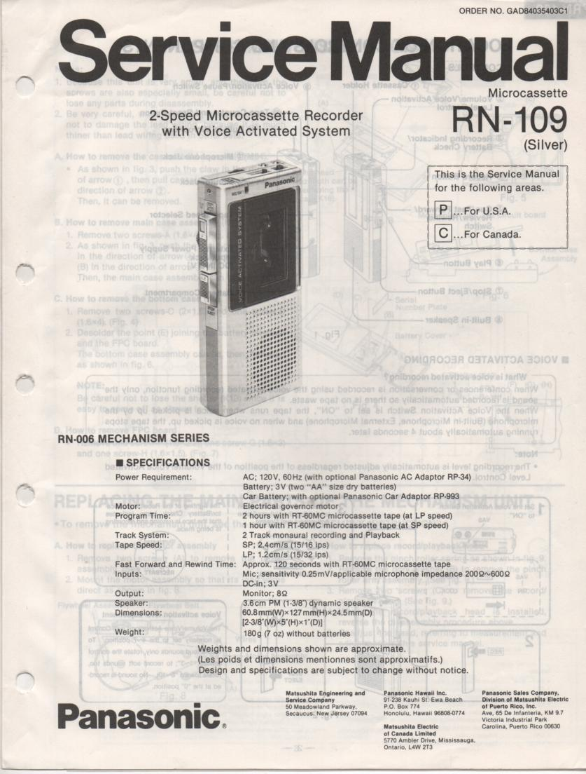 RN-109 Microcassette Deck Service Manual