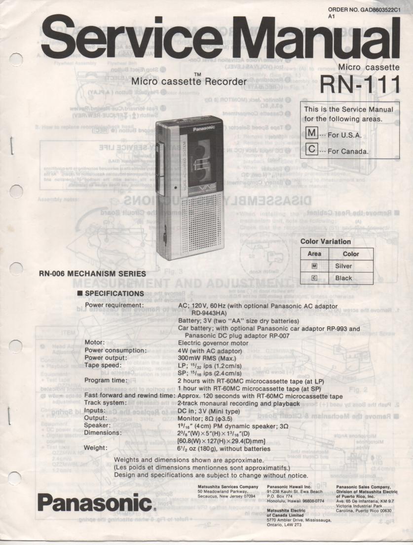 RN-111 Microcassette Deck Service Manual
