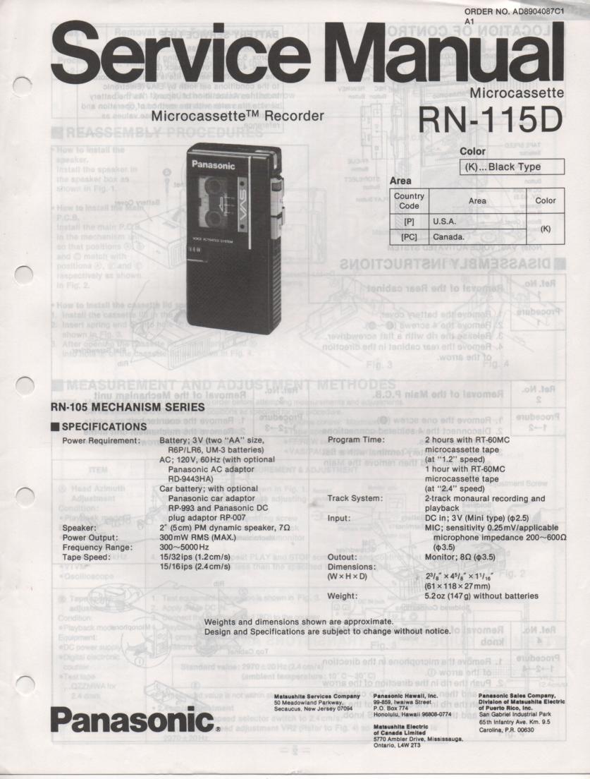 RN-115D Microcassette Deck Service Manual