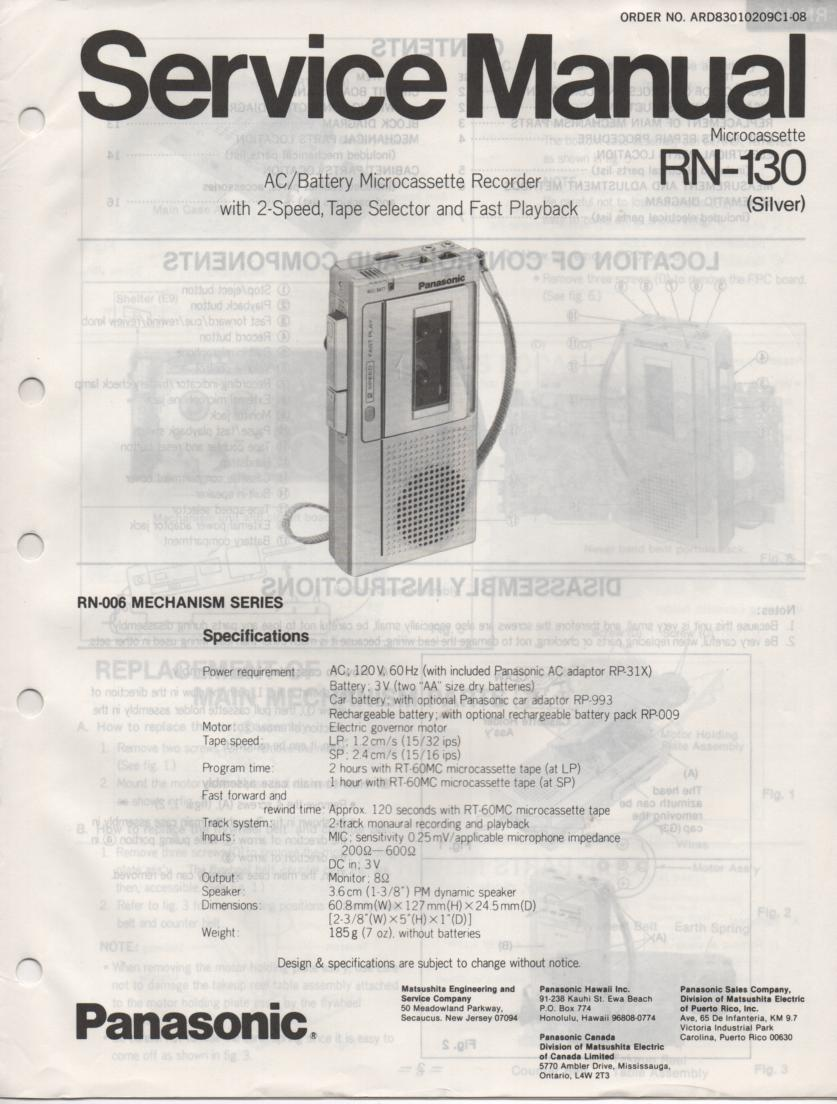 RN-130 Microcassette Deck Service Manual