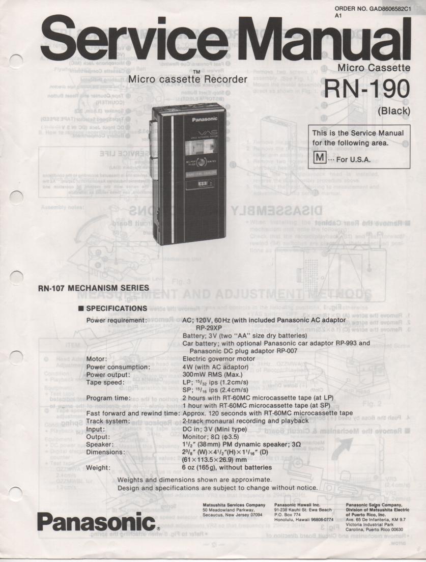 RN-190 Microcassette Deck Service Manual