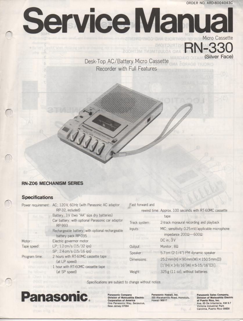 RN-330 Microcassette Deck Service Manual