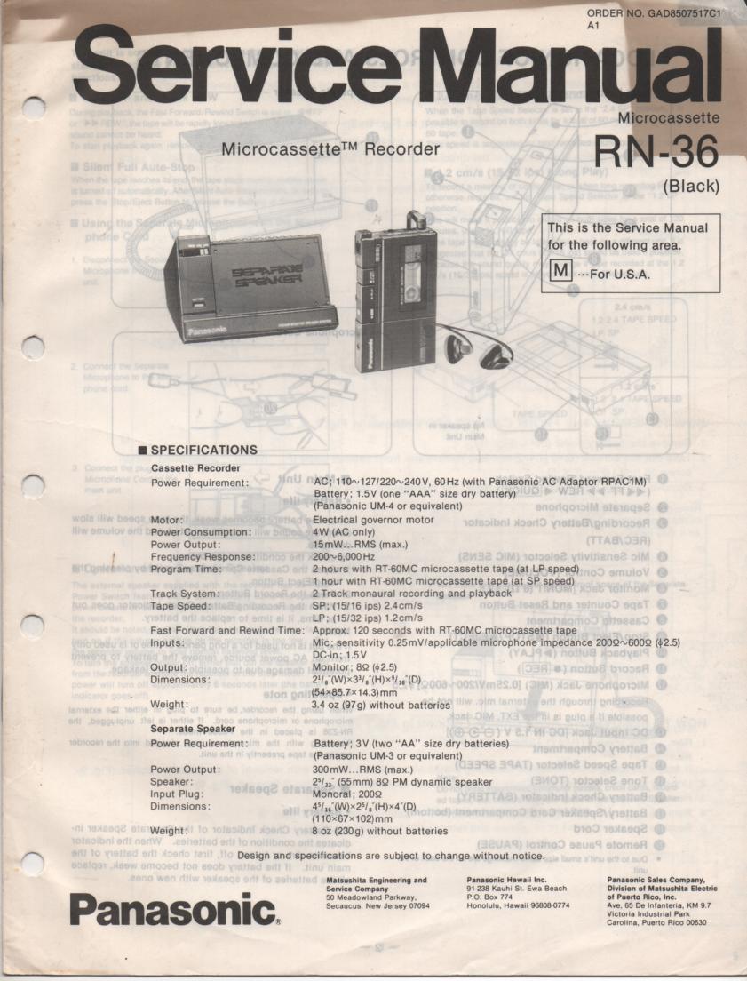 RN-36 Microcassette Deck Service Manual