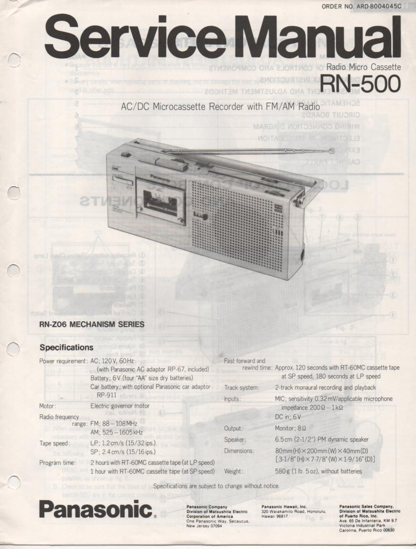 RN-500 Microcassette Deck Service Manual