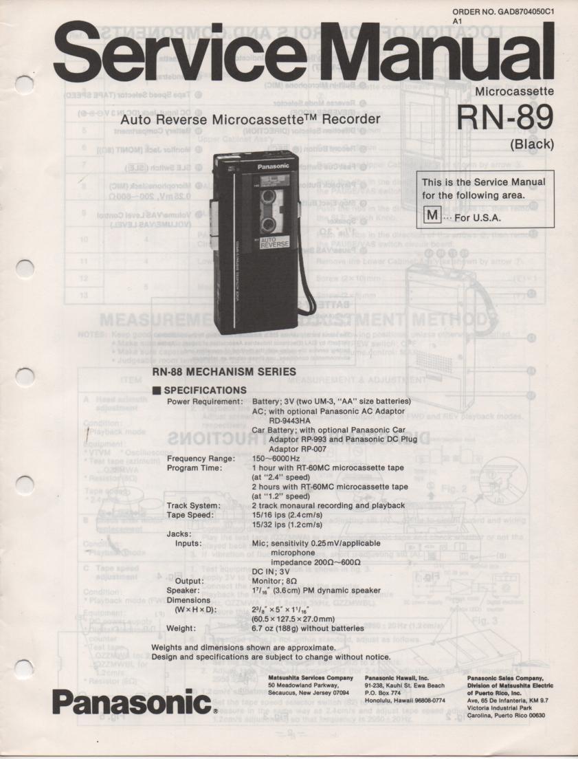 RN-89 Microcassette Deck Service Manual