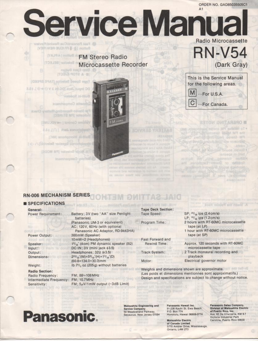 RN-V54 Microcassette Deck Service Manual