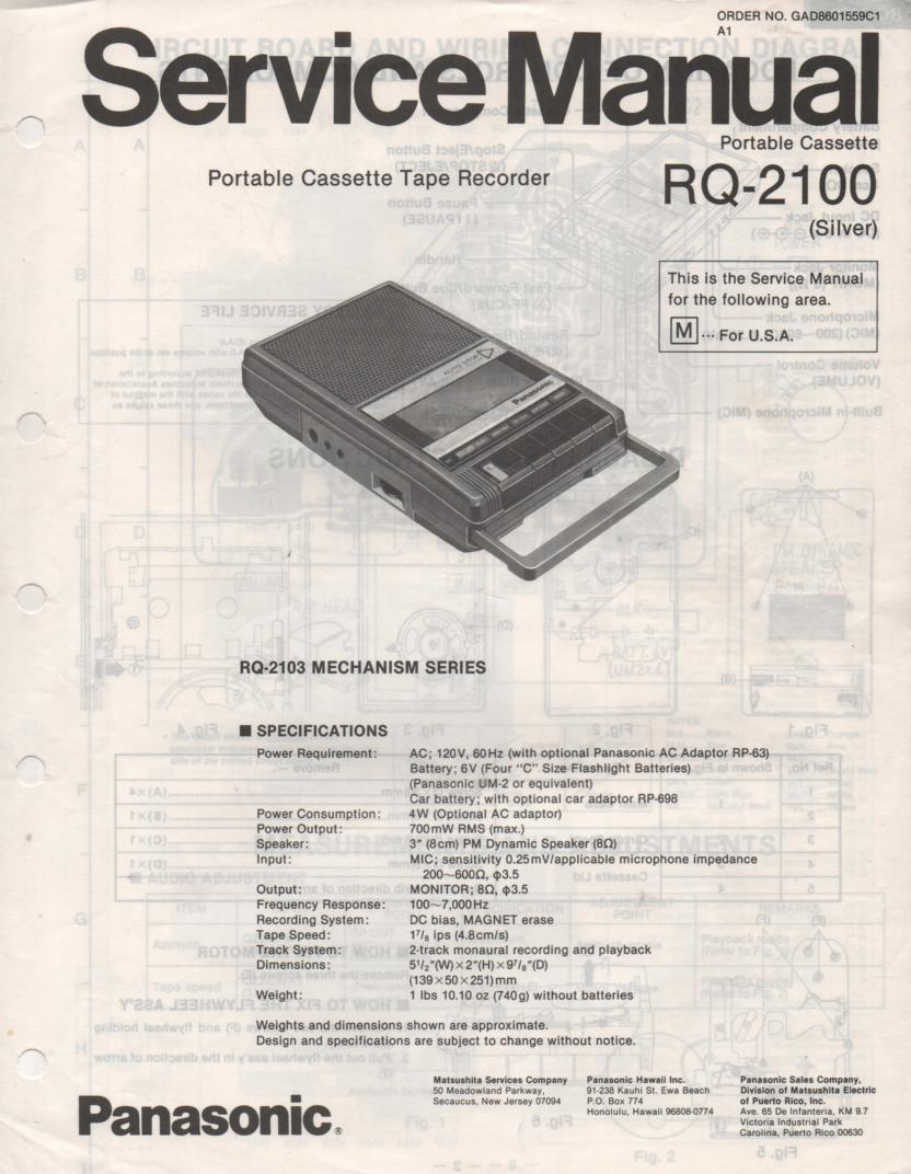 RQ-2100 Cassette Tape Recorder Service Manual
