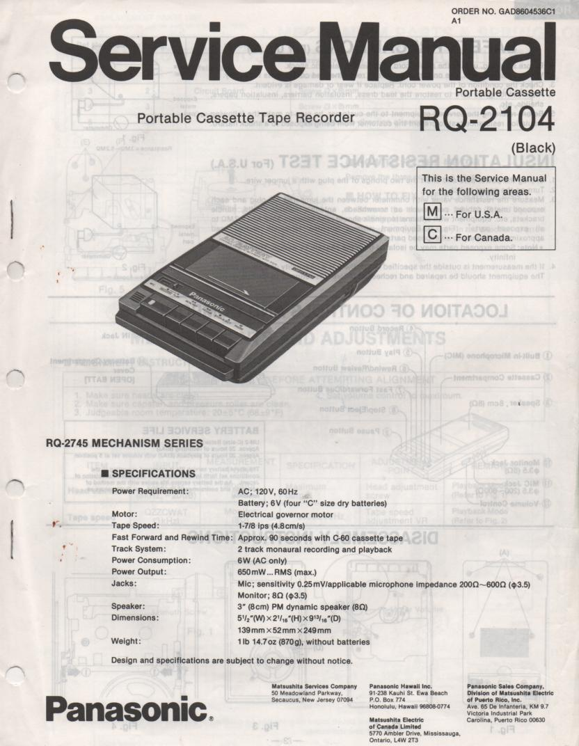 RQ-2104 Cassette Tape Recorder Service Manual