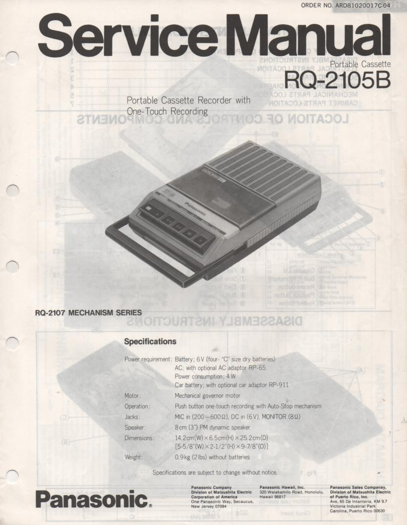 RQ-2105B Cassette Tape Recorder Service Manual
