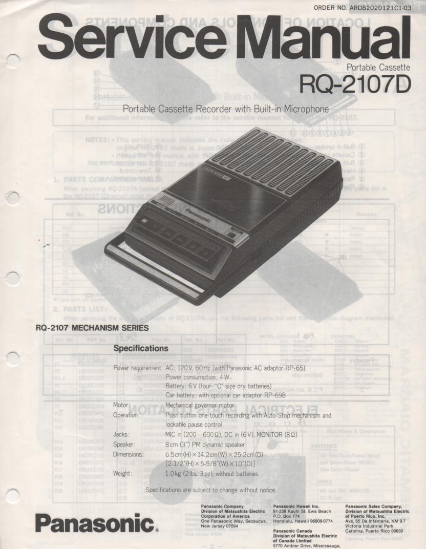 RQ-2107D Cassette Tape Recorder Service Manual