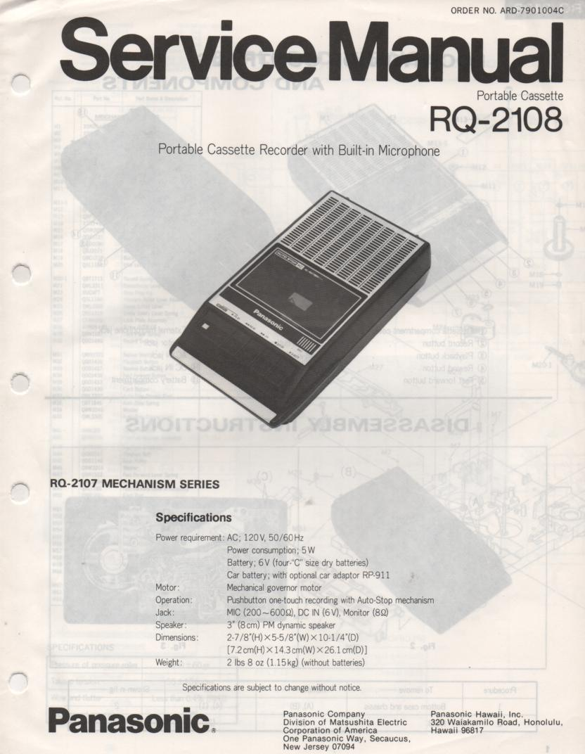 RQ-2108 Cassette Tape Recorder Service Manual