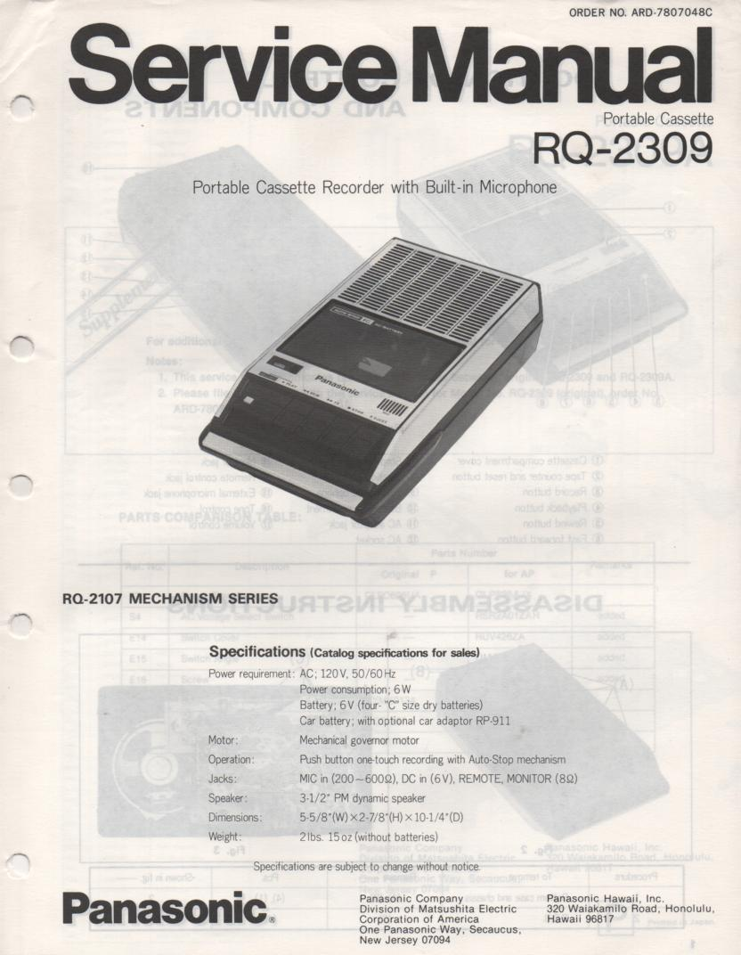 RQ-2309 Cassette Tape Recorder Service Manual