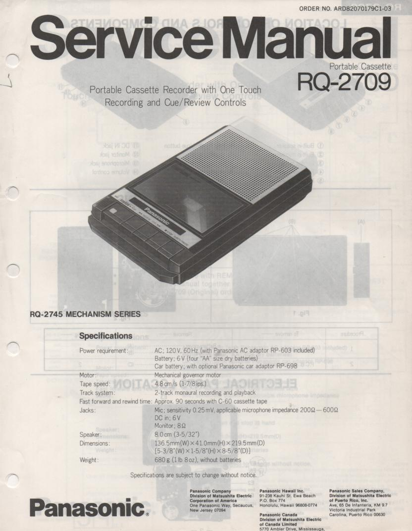 RQ-2709 Cassette Tape Recorder Service Manual