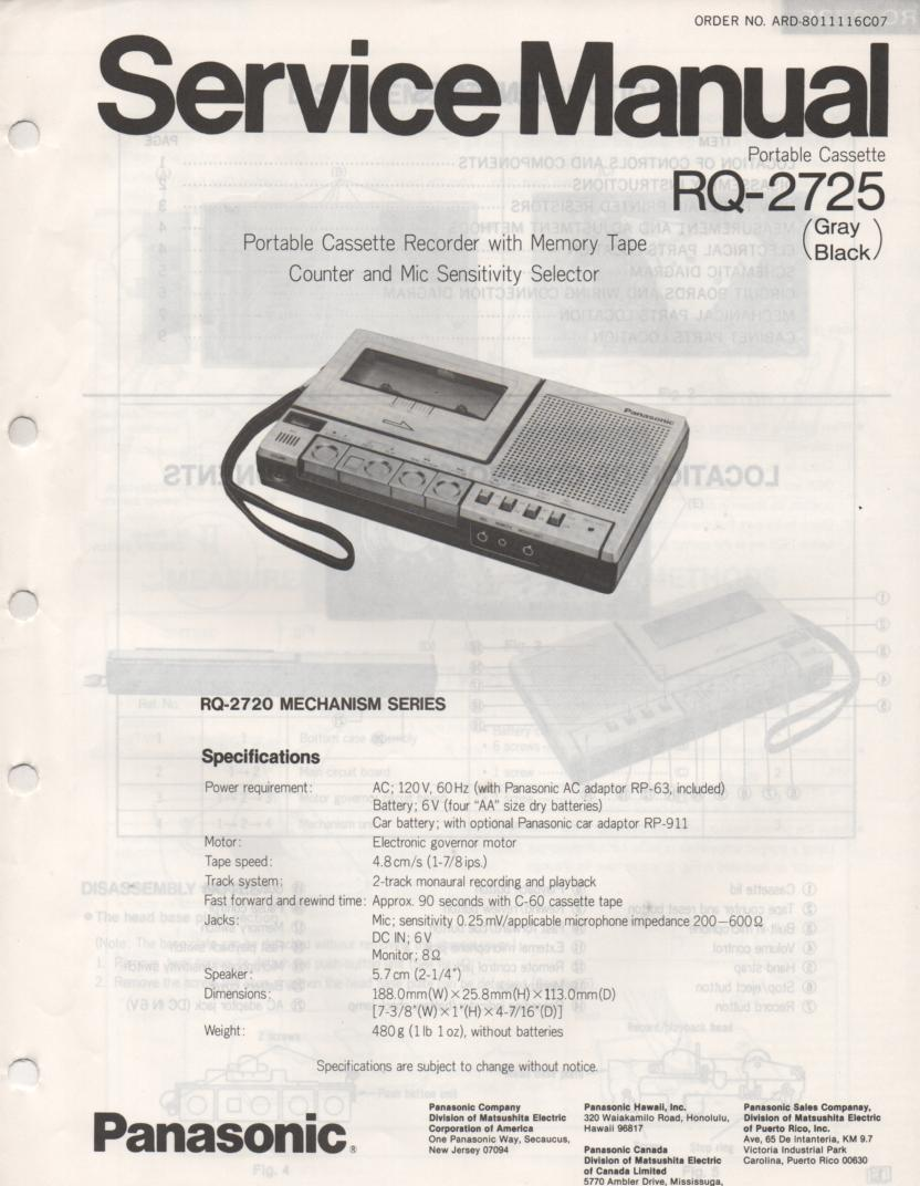 RQ-2725 Cassette Tape Recorder Service Manual