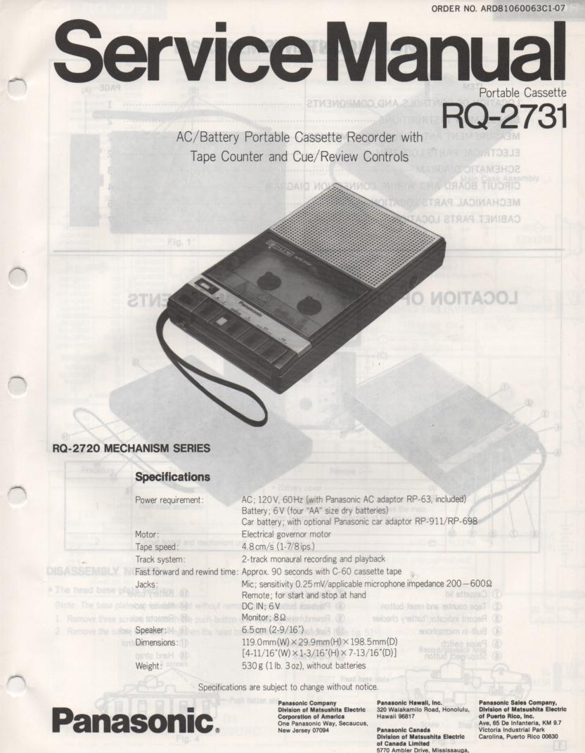 RQ-2731 Cassette Tape Recorder Service Manual