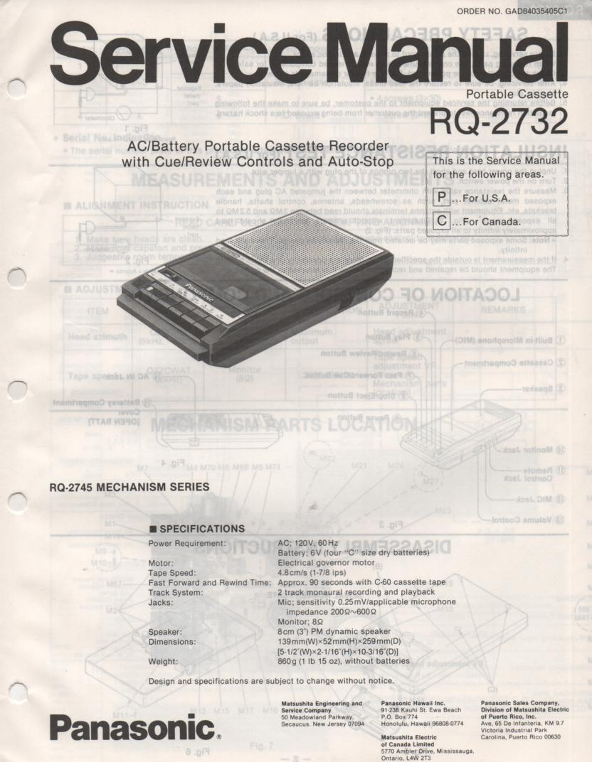 RQ-2732 Cassette Tape Recorder Service Manual